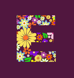 Letter of beautiful flowers e vector