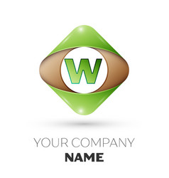 letter w logo symbol on colorful rhombus vector image