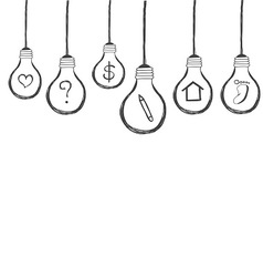 lightbulb with icon inside hand drawn vector image