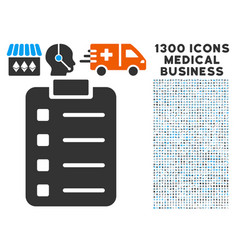 list pad icon with 1300 medical business icons vector image