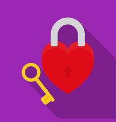 Lock and key icon in flat style isolated on white vector