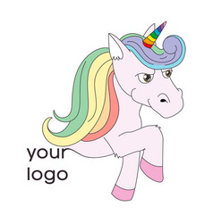 Logo with a unicorn for your company pegasus icon vector