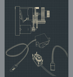 Micro servos blueprints vector