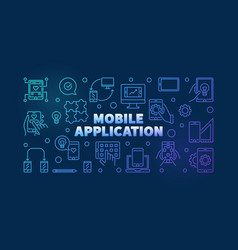 mobile application outline colored vector image