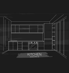 modern minimalist kitchen sketch vector image