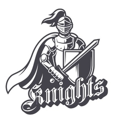 Monochrome knight sport logo vector