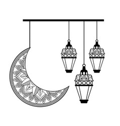 Monochrome moon and lanterns hanging ramadan vector