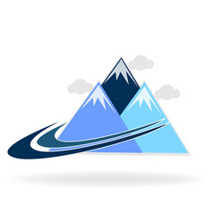 mountains and swooshes logo design vector image