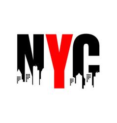 new york city abbreviation nyc lettering a modern vector image