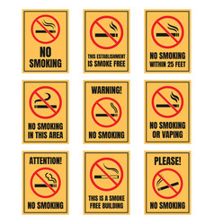 no smoking sign set smoking is prohibited sticker vector image