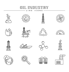 Oil industry and energy line icons set vector