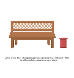 Outdoor wooden benches with garbage canouter vector