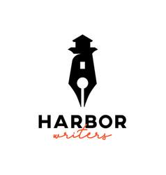 Pencil lighthouse logo design element illus vector