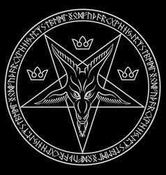 Pentagram sign lucifer the head vector