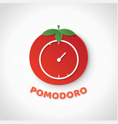Pomodoro technique paper art realistic vector