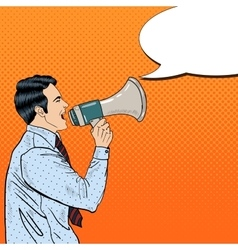 Pop Art Businessman Shouting in Megaphone vector