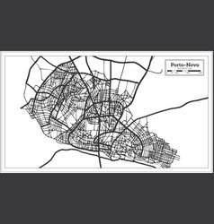 Porto novo benin city map iin black and white vector