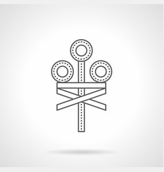 Railroad crossing signal flat line icon vector