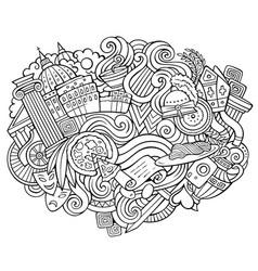 rome hand drawn cartoon doodles funny travel vector image