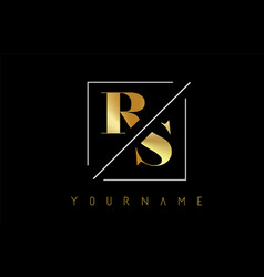 Rs golden letter logo with cutted and intersected vector
