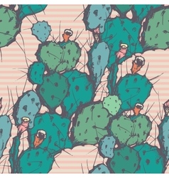 Seamless background with cactus vector image