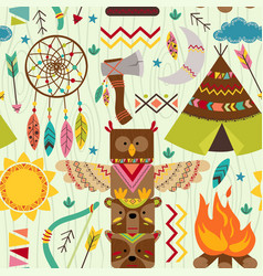 Seamless pattern with tribal elements vector
