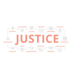 set of crime law police and justice thin vector image