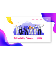 ship crew male characters in uniform website vector image