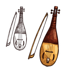 sketch gusli harp string music instrument vector image