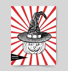 Sketch pumpkin in hat vector image