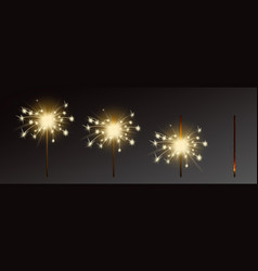 Sparklers set realistic flares with flames vector