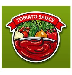 Sticker of tomato sauce vector