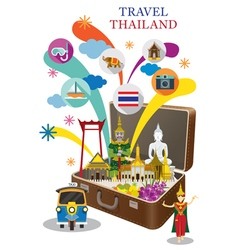 Suitcase with Thailand Landmark and Icons vector