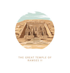 the great temple ramses 2 at abu simbel egypt vector image