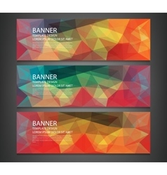 Three banners with abstract multicolored polygonal vector image
