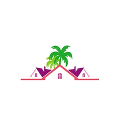 Tropical cottage house travel logo vector