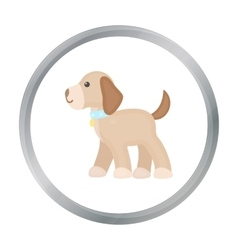 Walking the dog icon in cartoon style for vector
