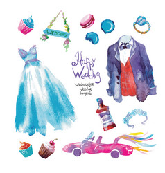 Watercolor sweets wedding set vector