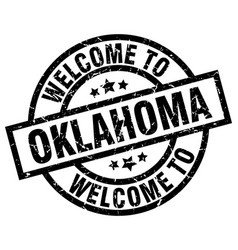 welcome to oklahoma black stamp vector image