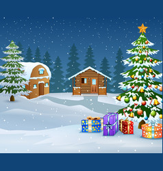 winter landscape with snow wooden house and christ vector image