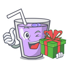 With gift berry smoothie mascot cartoon vector