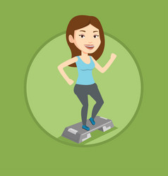 Woman exercising on steeper vector