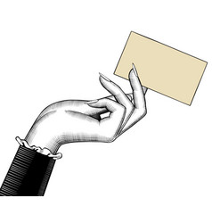 womans hand with a visiting card vector image