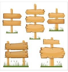 Wooden sign boards set cartoon wooden sign vector