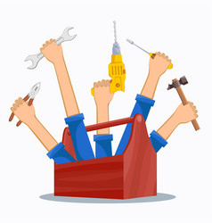 Workers hands with construction tools and toolbox vector