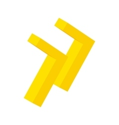 Yellow rewind button isometric 3d icon vector image