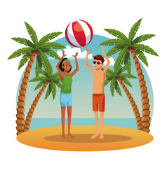 young couple in the beach vector image