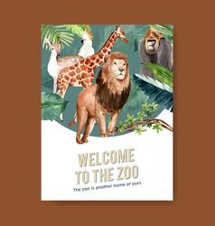 Zoo poster design with lion giraffe deer bird vector