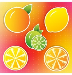 lemon lime and orange stickers vector image vector image