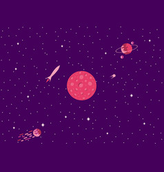 mars cosmic space a comet with a tail planets vector image